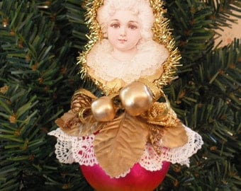 Dresden Style Christmas Ornament- Victorian Child