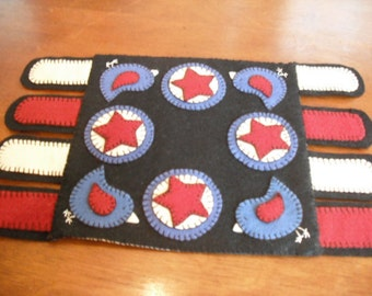 Red, White And Bluebirds Primitive Penny Rug Candle Mat