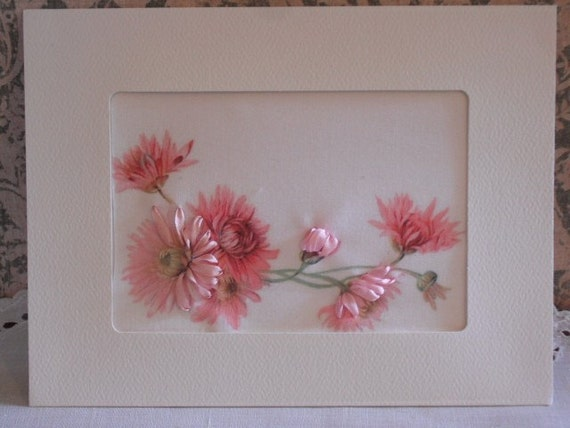 FINISHED GREETING CARD SILK RIBBON EMBROIDERY PINK DAISIES