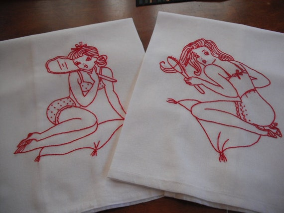 Hand Embroidered Feed Sack Kitchy Retro Towels