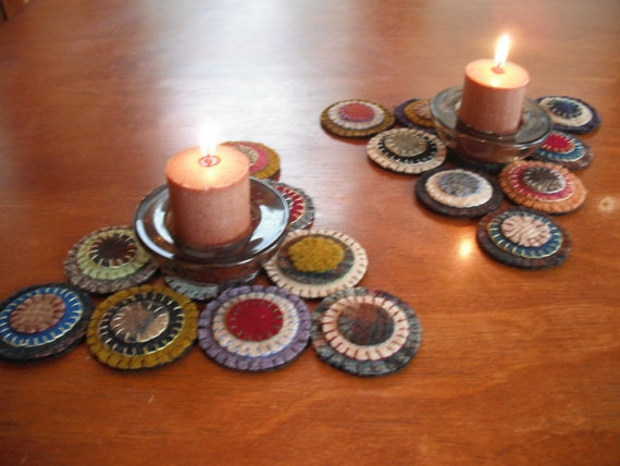 Primitive Penny Rug Candle Mat - adorable pair