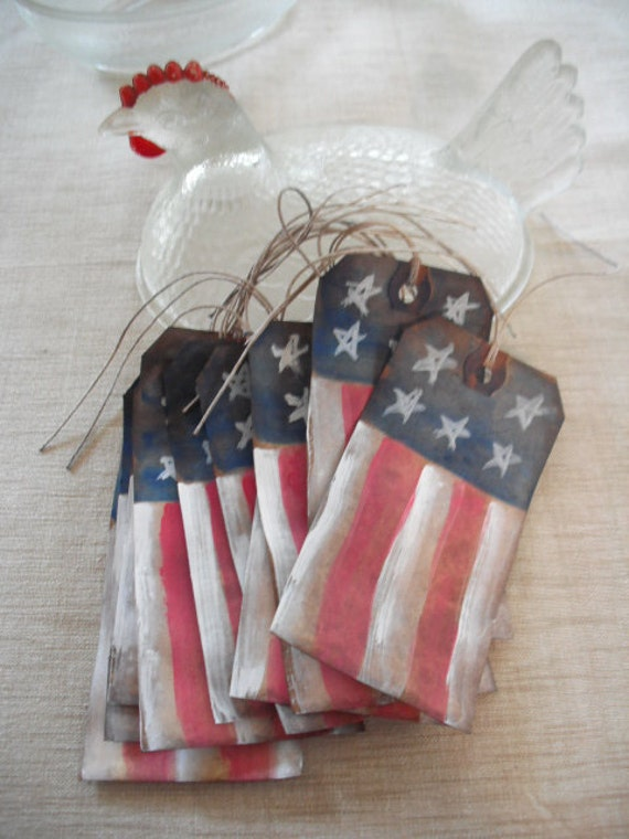 RED, WHITE and BLUE- Primitive American flag hang tags - gift tags - Rustic - set of 10