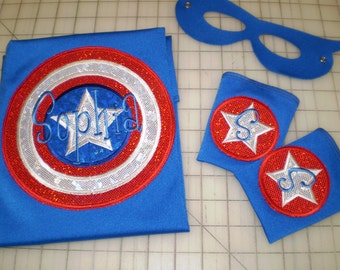 Circle with a Star Superhero  Cape, Mask and Super Power Cuffs - Personalized