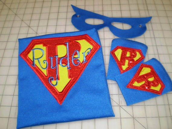 Letter Hero Superhero Cape, Mask and Super Power Cuffs - Personalized