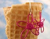 Passionate PINK Flower POWER Swirl EARRINGS