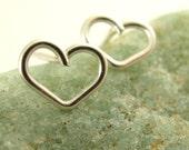 Simple Sterling Silver Heart Earrings