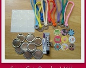 Snap Cap Pendant Kit- Includes all the supplies and instructions to make 9 Snap Caps and 9 stretch chokers with washers- Perfect for tweens