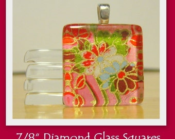 7/8 Inch Diamond Glass Squares- SET OF 25- Highest quality of glass available- Crystal clear with NO scratches
