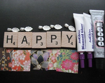 Scrabble Tile Pendant Kit- Includes instructions and all of the supplies to make 5 Scrabble Tile Pendants