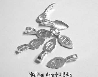 50 Medium Sterling Silver Plated Aanraku Jewelry Bails- Perfect for pendant making