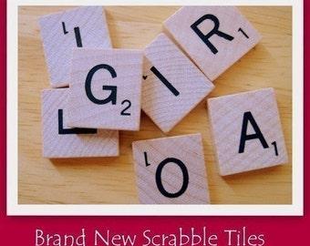 Set of 25- New Wood Scrabble Tiles For Pendant Making, Fridge Magnets, Scrapbooking, Card Making Or Thumb Tacks