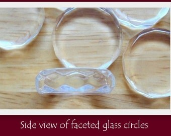 Faceted Glass Circles- SET OF 25- Highest quality of glass available- Crystal clear with NO scratches