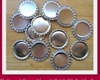 25 Flattened Shiny Silver Bottle Caps- NO LINER- Perfect for fridge magnets, pins, pendants, scrapbooking and card making