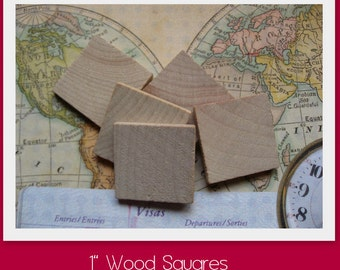 NEW- 1 inch Wood Squares- Set of 50- Great for making into pendants or decorative magnets- Use with 1 inch square resin drops