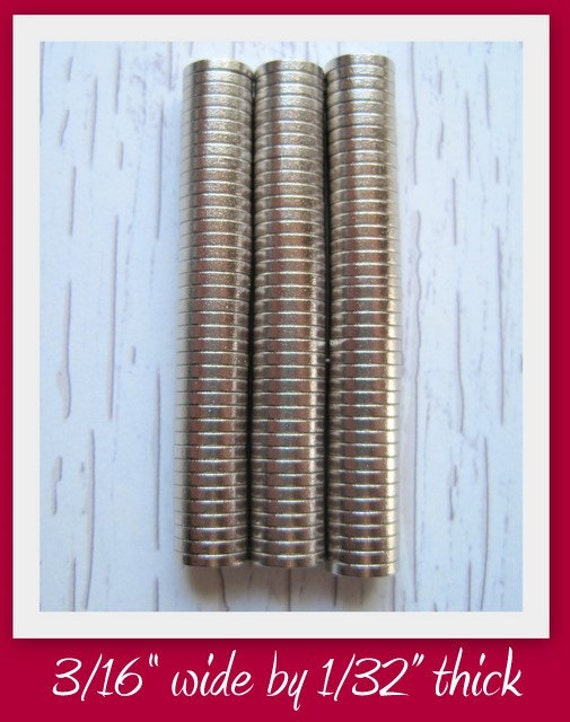 NEW- Set of 50- Neodymium Rare Earth Magnets- 3/16 Inch Diameter by 1/32 Inch Thick- Great for bottle cap magnets and all glass magnets