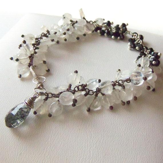 Black Spinel and Rainbow Moonstone beaded gemstone bracelet
