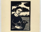 WOMAN, Bird and Clouds relief linocut