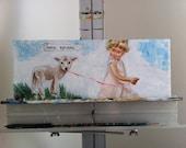 ORIGINAL Painting - Little Lamb (French Translation)