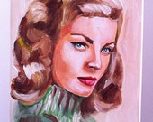 "ORIGINAL Painting Lauren Bacall 8x10"" Canvas"