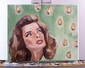 "ORIGINAL Painting of Katherine Hepburn 8x10"""