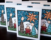 Stained Glass Nativity (10 Blank Cards with MESSAGES inside)