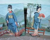 Vintage Pair of Asian Paint By Numbers Unframed