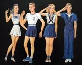 SALE-Vintage Paper Dolls - Navy Scouts - WW2 Era