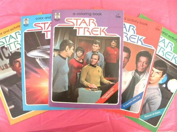 SUPER SALE-Five Vintage 70s Star Trek Coloring Books - Unused