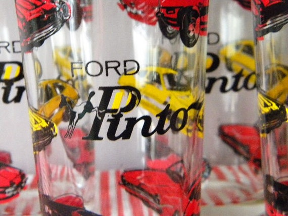 Vintage Ford Pinto Glassware Set of Five Tumblers