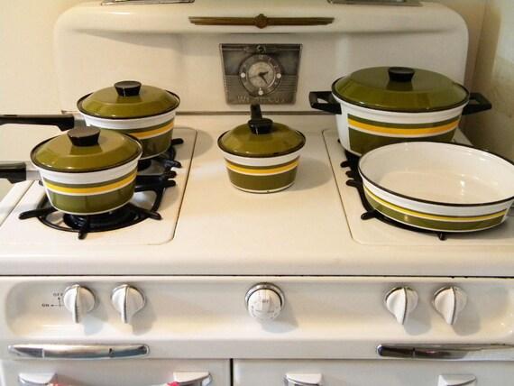 Vintage Skoal Norway Complete Cookware Set Catherineholm Era Enamelware