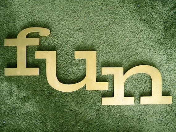 Large Vintage Sign Letters F U N