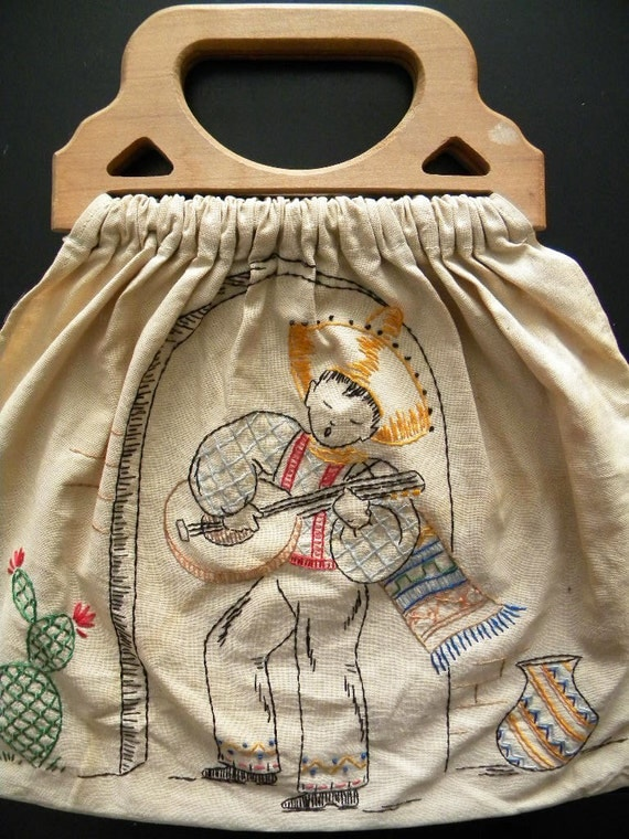 Vintage Embroidered Sewing Bag or Tote with Mexican Guitarist