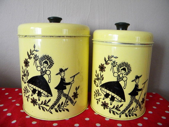 Two Vintage Farmhouse Kitchen Canisters