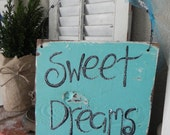SALE Sweet Dreams Aqua Turquoise vintage Wood Sign Rustic Beach Mermaid Ocean Shells and Glitter OOAK