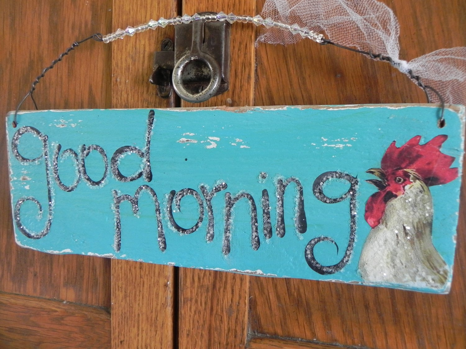 Good Morning Vintage Photos : Good morning vintage rooster aqua turquoise blue wood sign