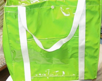 Hot Lime Green Pleather Tote Bag
