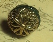 Greta-  Gold and Green Vintage inspired Decorative Antiqued Brass Adjustable Band Ring