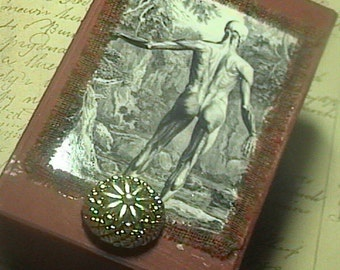 Anatomy of Man -altered assemblage Brick Red  keepsake Trinket Anatomical Design box