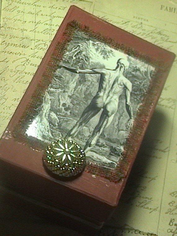 Anatomy of Man -altered assemblage Brick Red  keepsake Trinket Anatomical Design box