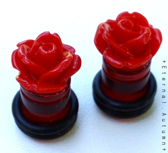 CLEARANCE - RED Rose UV Plugs 0g (8mm) Gauged Stud Earrings