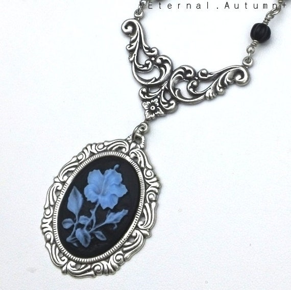 N y g h t s h a d e. ...Cameo Pendant Jet Czech Glass and Antiqued Silver Necklace
