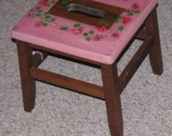 wooden stool, painted roses