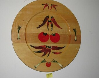 decorative wooden plate with kitchen motif