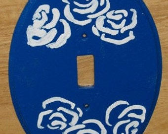 light switch plate - oval blue with flowers