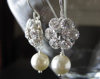 Swarovski Filigree Flower and Pearl Earrings...FREE SHIPPING