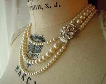 Betty...Swarovksi Pearl and Rhinestone Clasp Necklace...Triple Strand...FREE SHIPPING