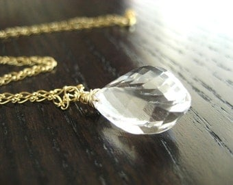 Just a Twist...Crystal Quartz Pendant Necklace...Gold-filled...FREE SHIPPING
