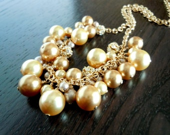 Rain of Gold...Swarovski Pearls and Rhinestone Balls...Gold-filled...FREE SHIPPING