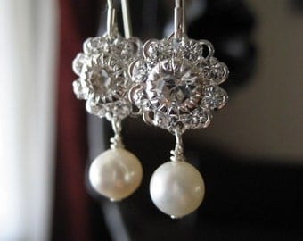 Swarovski Crystal Filigree Flower and Freshwater Pearl Earrings...Petite...FREE SHIPPING