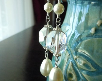 Simply Elegant...Swarovski Teadrop Pearl and Graphic Crystal Earrings...Sterling Silver...Custom Made...FREE SHIPPING
